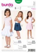 Burda Childrens Easy Sewing Pattern 9413 Skirts with Gathers & Ruffles