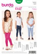 Burda Childrens Easy Sewing Pattern 9415 Leggings in 3 Styles