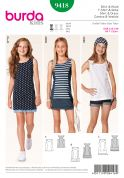 Burda Childrens Easy Sewing Pattern 9418 Casual Racer Back Tops