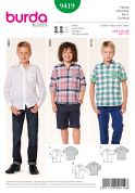 Burda Childrens Sewing Pattern 9418 Smart Shirts in 3 Styles