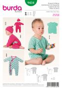 Burda Baby Easy Sewing Pattern 9434 All In One Jumpsuits & Hat
