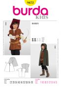 Burda Childrens Easy Sewing Pattern 9472 Robin Hood Cape & Tunic Costumes