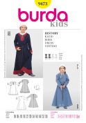 Burda Childrens Easy Sewing Pattern 9473 Historical Dress & Bonnet Costumes