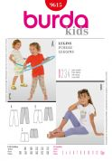 Burda Childrens Easy Sewing Pattern 9615 Leggings in 3 Lengths