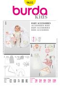 Burda Baby Easy Sewing Pattern 9635 Sleeping Bag, Bath Towel, Nursing Pillow, Bib & Toys