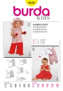 Burda Toddlers Easy Sewing Pattern 9650 Tops, Dress, Pants, Bolero, Dungarees & Hat