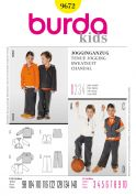 Burda Childrens Easy Sewing Pattern 9672 Sweat suit Hoodies & Jogging Pants