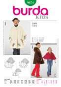 Burda Childrens Easy Sewing Pattern 9674 Capes in 3 Variations