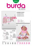 Burda Toddlers Sewing Pattern 9712 Dress, Pants, Dungarees, Jacket & Hat