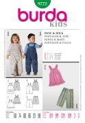 Burda Toddlers Easy Sewing Pattern 9772 Dungarees, Dress & Pants