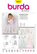 Burda Baby Easy Sewing Pattern 9831 Jacket, Dress, Pants, Dungarees & Hat