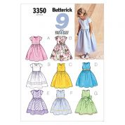 Butterick Childrens Easy Sewing Pattern 3350 Dresses & Sash Ages: 2-5