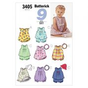 Butterick Toddlers Easy Sewing Pattern 3405 Dresses, Jumpsuits & Panties