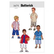 Butterick Childrens Easy Sewing Pattern 3475 Shirts & Shorts Ages: 2 5