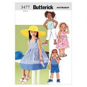 Butterick Childrens Easy Sewing Pattern 3477 Dresses, Tops & Shorts Ages: 2 5