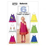 Butterick Childrens Easy Sewing Pattern 3772 Summer Dresses Ages: 1 3