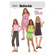 Butterick Childrens Easy Sewing Pattern 3860 Top, Dresses, Shorts & Pants