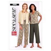 Butterick See & Sew Ladies Easy Sewing Pattern 3886 Blouses, Tops & Trousers