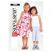 Butterick See & Sew Childrens Easy Sewing Pattern 3889 Dress, Top & Pants