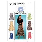 Butterick Ladies Easy Sewing Pattern 4136 Panelled Flared Skirts