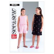 Butterick See & Sew Childrens Easy Sewing Pattern 4161 Shorts, Top & Dress