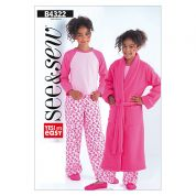 Butterick See & Sew Childrens Easy Sewing Pattern 4322 Pyjamas & Dressing Gown