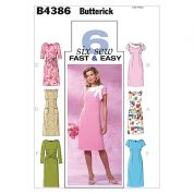 Butterick Ladies Easy Sewing Pattern 4386 Fitted Dresses