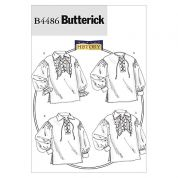 Butterick Ladies & Mens Sewing Pattern 4486 Historical Lace Up Front Shirts
