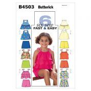 Butterick Childrens Easy Sewing Pattern 4503 Tops, Skirt & Shorts