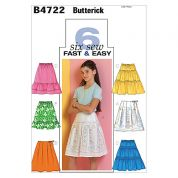 Butterick Childrens Easy Sewing Pattern 4722 Summer Skirts