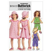 Butterick Childrens Easy Sewing Pattern 5019 Top, Dress, Pants & Hat