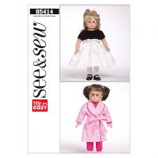 Butterick See & Sew Craft Easy Sewing Pattern 5414 Doll Clothes