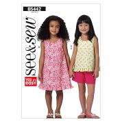 Butterick See & Sew Childrens Easy Sewing Pattern 5442 Top, Dress & Shorts