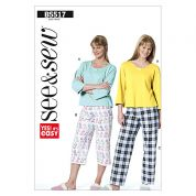 Butterick See & Sew Ladies Easy Sewing Pattern 5517 Pyjamas Sleepwear