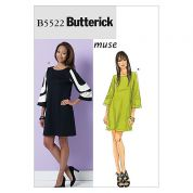 Butterick Ladies Easy Sewing Pattern 5522 Panelled Sleeve Dresses