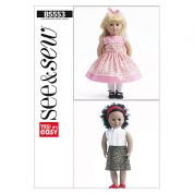 Butterick See & Sew Craft Easy Sewing Pattern 5553 Doll Clothes