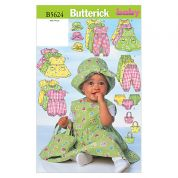 Butterick Baby Sewing Pattern 5624 Dress, Jumpsuit, Hat & Bag