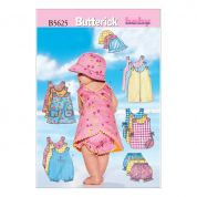 Butterick Baby Sewing Pattern 5625 Jumpsuit, Dress, Shorts & Hat