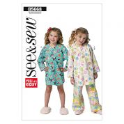 Butterick See & Sew Childrens Easy Sewing Pattern 5668 Nightshirt & Pyjama Bottoms