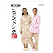 Butterick See & Sew Ladies Easy Sewing Pattern 5704 Pyjamas Sleep Wear