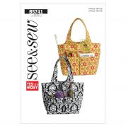 Butterick See & Sew Accessories Easy Sewing Pattern 5741 Tote Hand Bag
