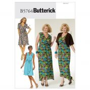 Butterick Ladies Plus Sizes Easy Sewing Pattern 5764 Dresses, Belt & Bolero