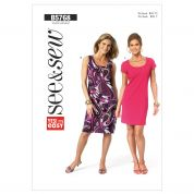 Butterick See & Sew Ladies Easy Sewing Pattern 5768 Lined Semi Fitted Dresses