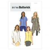 Butterick Ladies Sewing Pattern 5786 Shaped Hemline Shirts & Blouses