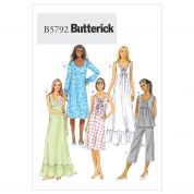 Butterick Ladies Sewing Pattern 5792 Pyjamas & Nightie