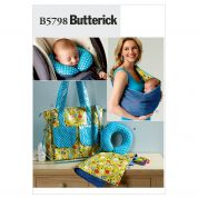 Butterick Baby Easy Sewing Pattern 5798 Changing Pad, Neck Support, Carrier & Diaper Bag