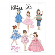Butterick Easy Sewing Pattern 5864 Retro Doll Clothes