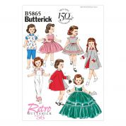 Butterick Easy Sewing Pattern 5865 Fancy Retro Doll Clothes