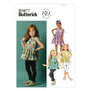 Butterick Childrens Easy Sewing Pattern 5877 Top, Dress, Belt & Leggings