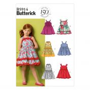 Butterick Childrens Easy Sewing Pattern 5914 Dresses & Belt